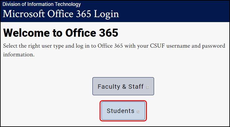 CSUF Microsoft Office landing page