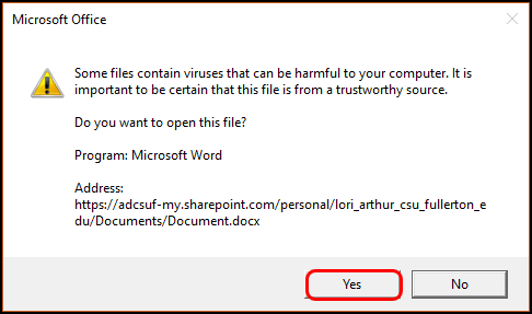 warning about opening file