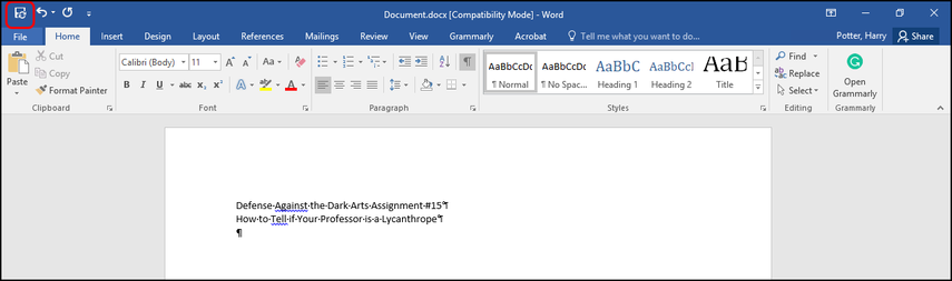 sampled document in Word desktop app