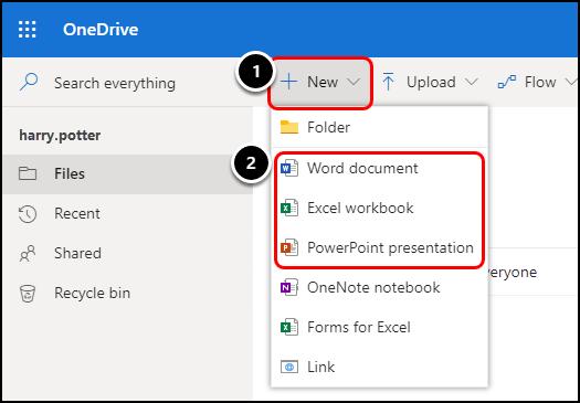 OneDrive homepage