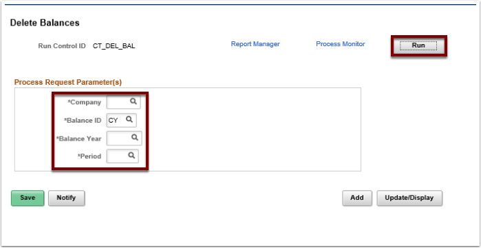 Delete Balances page, Run button