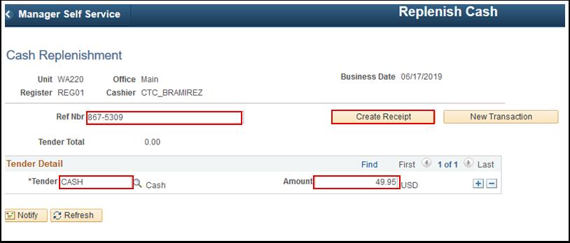 Cash Replenishment page