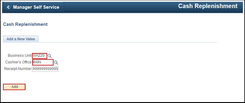Cash Replenishment search page