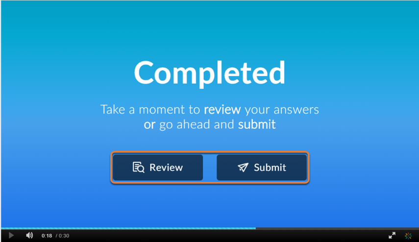 Screenshot shows Completed screen with buttons to Review or Submit answers. Graphic link opens modal with larger image. Press Escape to exit modal.