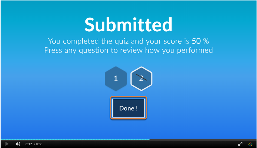 Screenshot shows Submitted screen with student score and question numbers indicated as correct or incorrect. Graphic link opens modal with larger image. Press Escape to exit modal.