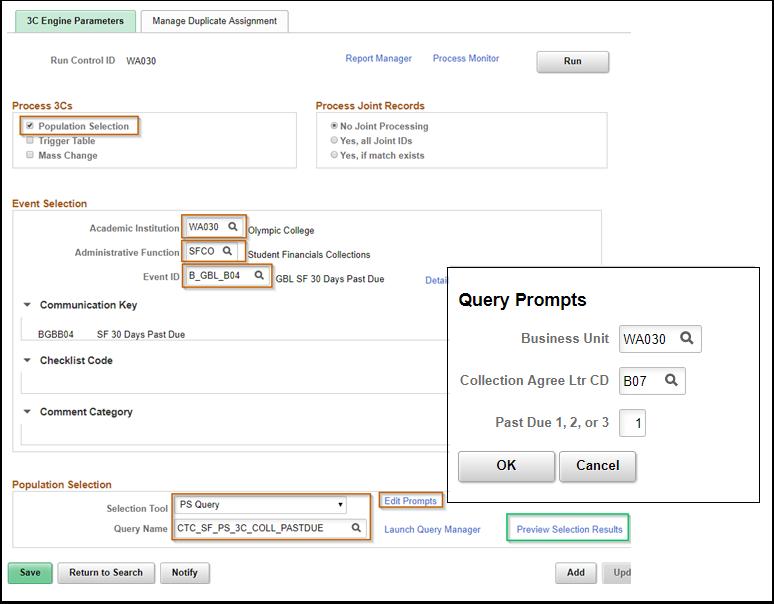 3 C Engine PeopleSoft page with 3C Engine Parameters tab displayed