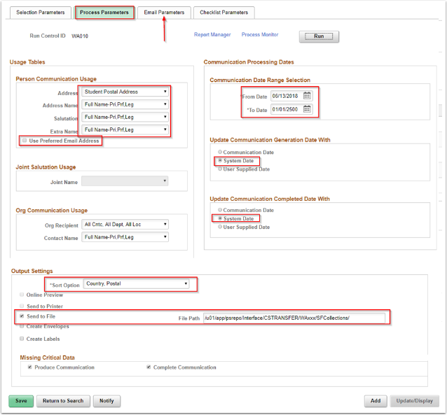Communication Generation Process Page with the Process Parameters tab displayed