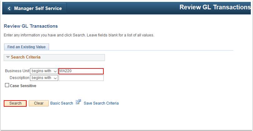 Review G L Transactions search page