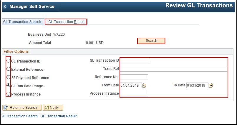 G L Transaction Search tab