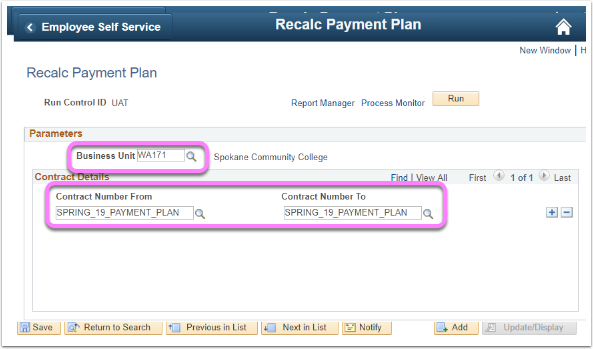 Assign and Recalc Page with Business Unit & Contract names highlighted