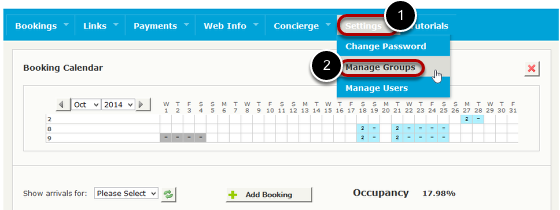 Click on 'Manage Groups' under the Settings tab.