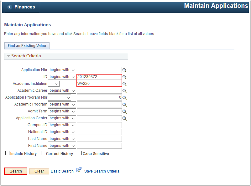 Maintain Applications search page