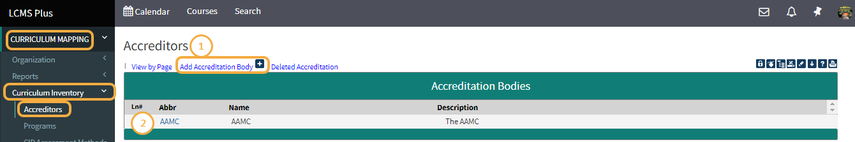 Step 1: Click 'Add Accreditation Body'