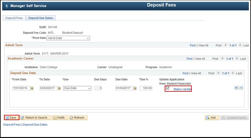 Deposit Due Dates tab