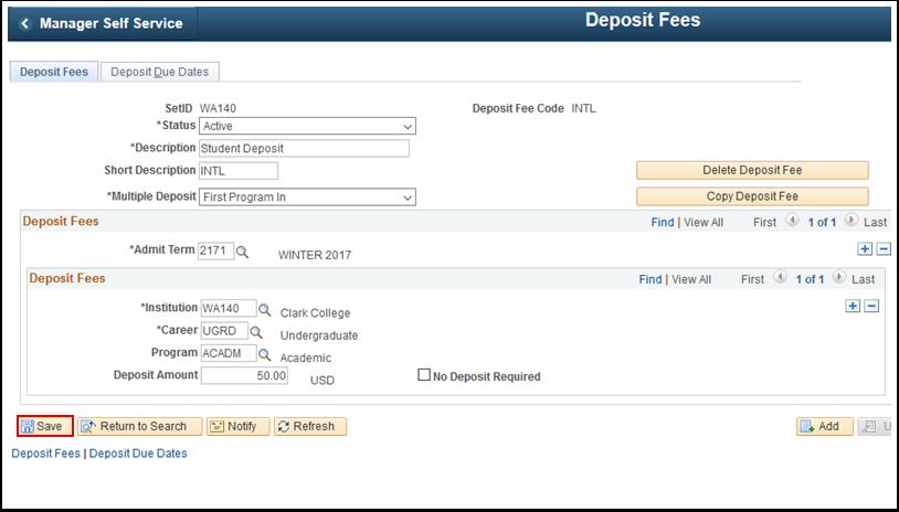Deposit Fees tab