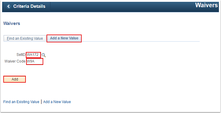 Waivers Add a New Value tab