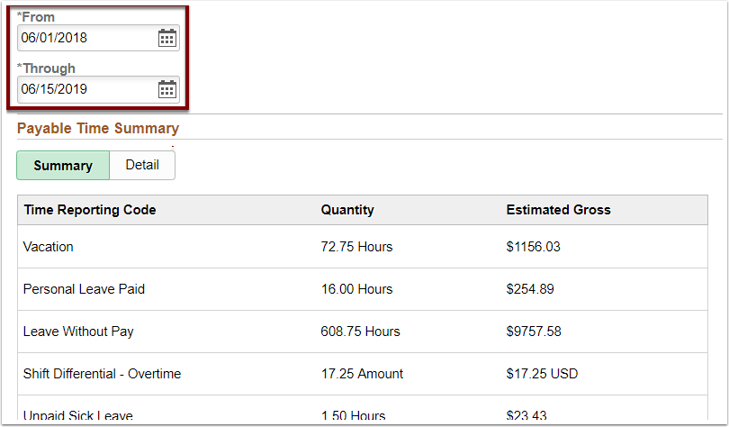 Payable Time Summary page