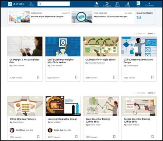 LinkedIn Learning homepage