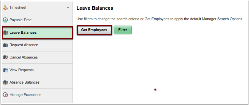 Leave balances page with Get Employees button