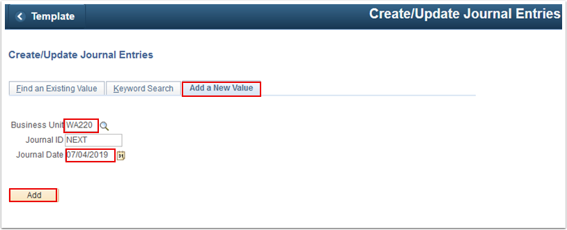 Create Update Journal Entries Add a New Value tab