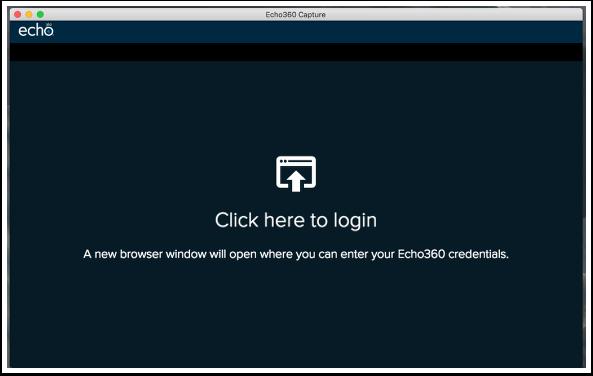 Login screen of capture application