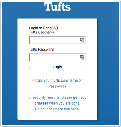 Tufts single sign on screen