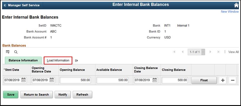 Balance Information tab