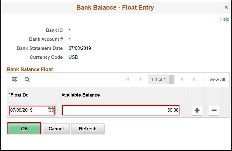 Bank Balance Float Entry window