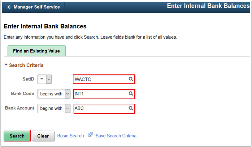 Enter Internal Bank Balances search page