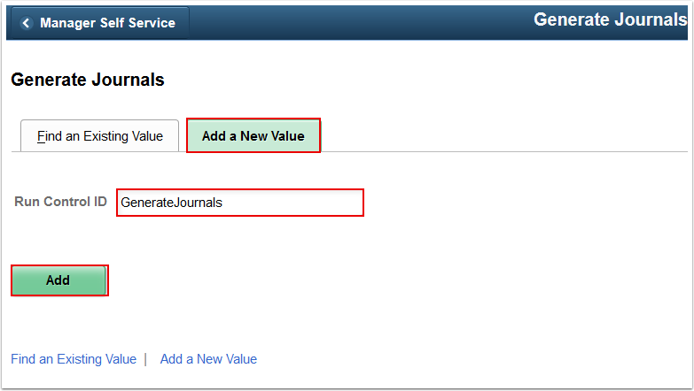 Generate Journals Add a New Value tab