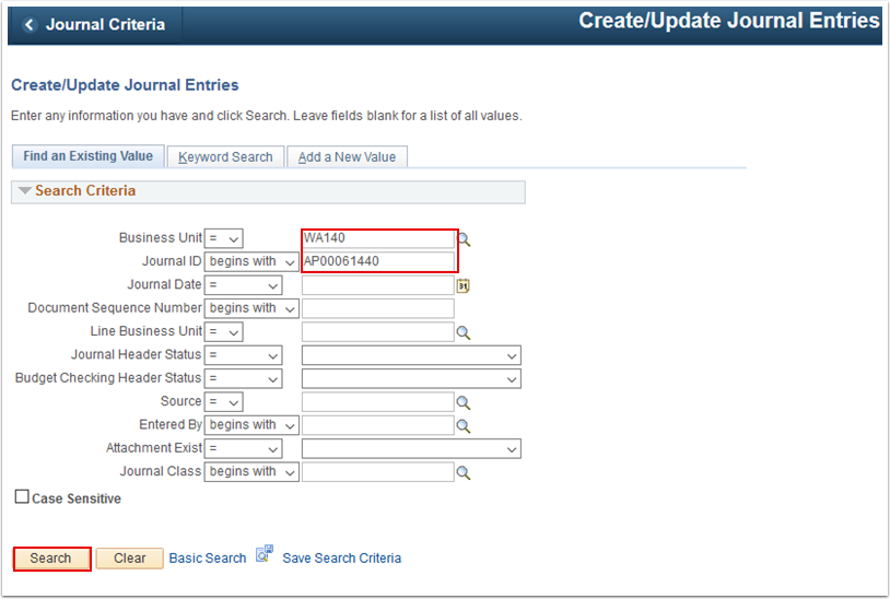 Create Update Journal Entries Find an Existing Value tab