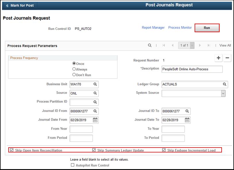 Post Journals Request page