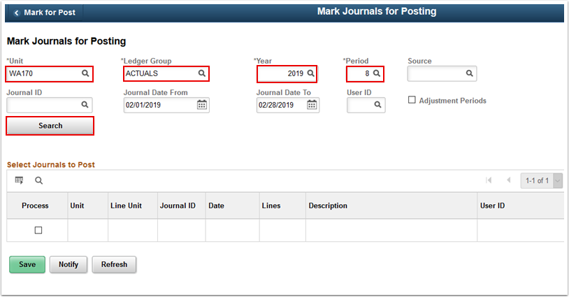 Mark Journals for Posting page