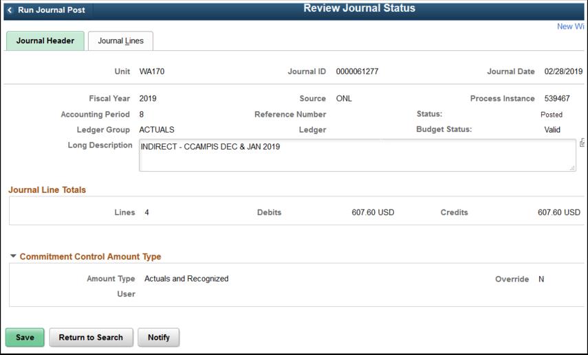 Review Journal Status Journal Header tab