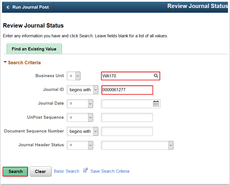 Review Journal Status search page