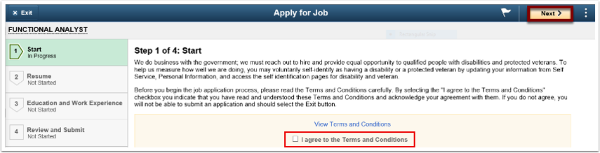 Apply for Job page