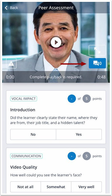 Image of mobile peer assessment screen with comment button highlighted