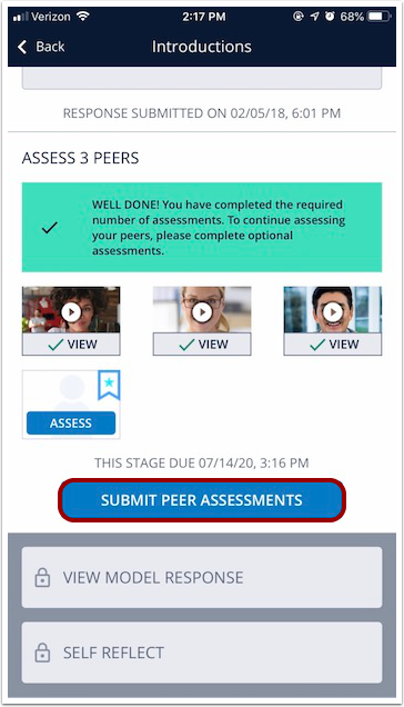 Image of mobile exercise steps screen with Submit Peer Assessments button highlighted highlighted