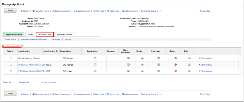 Manage Applicant page