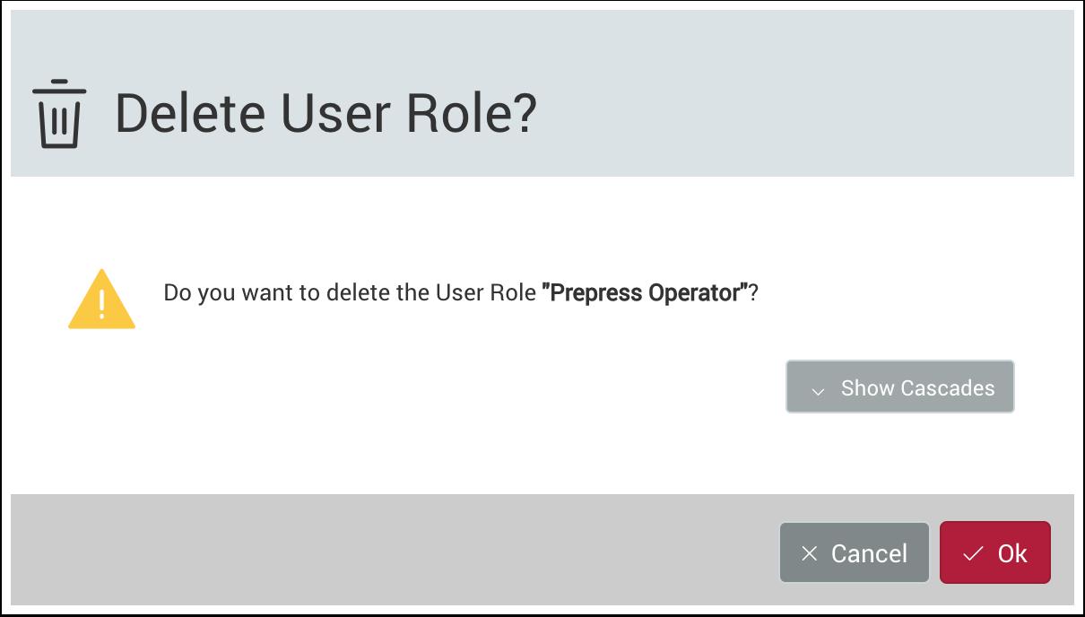 the delete user role dialog