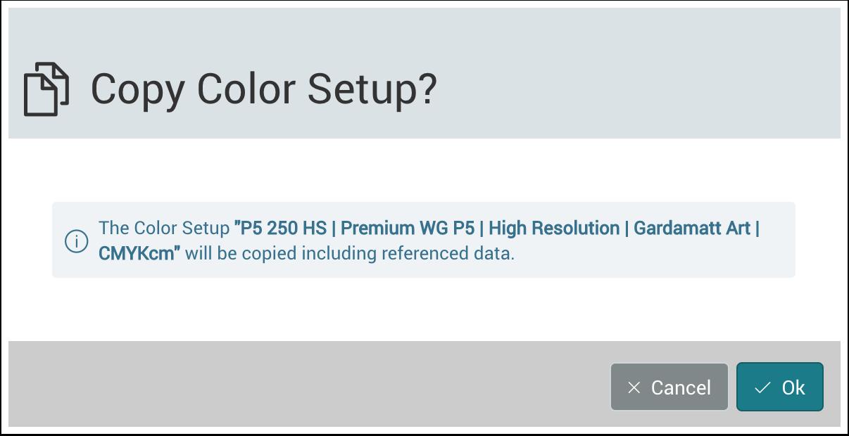 The Copy Color Setup dialog