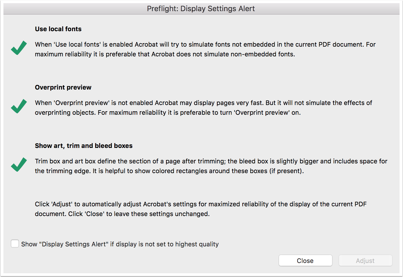 Adobe Acrobat Preflight: Display Settings Alert