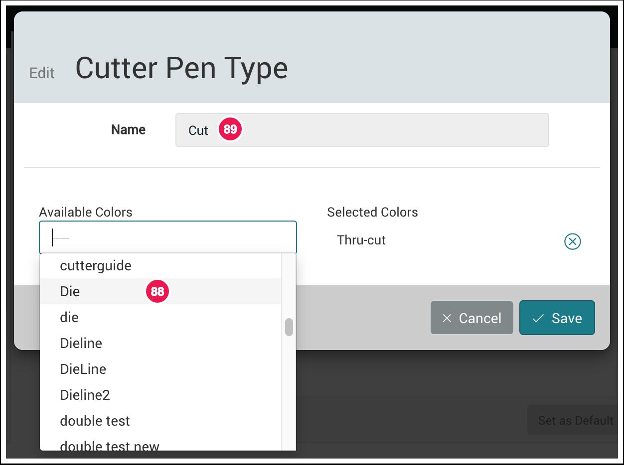 Edit Cutter Pen Type dialog - 1.7.4