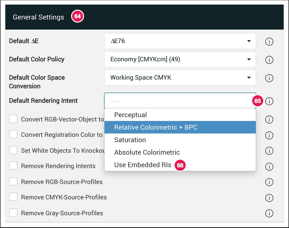 General Settings Default Rendering Intents - 1.7.4