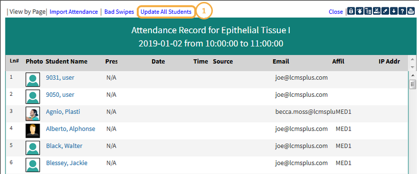 Step 5A: Attendance Record
