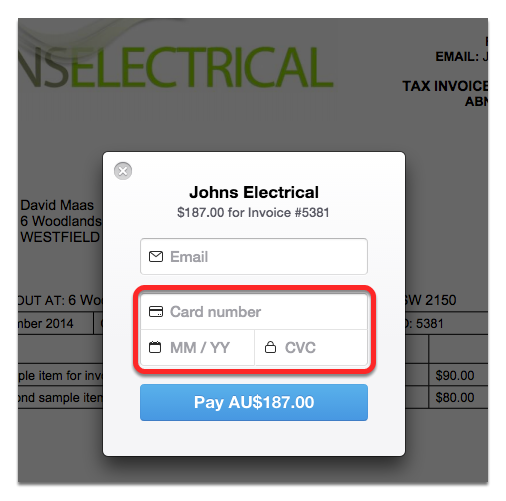 Customer enters their card details to pay the invoice