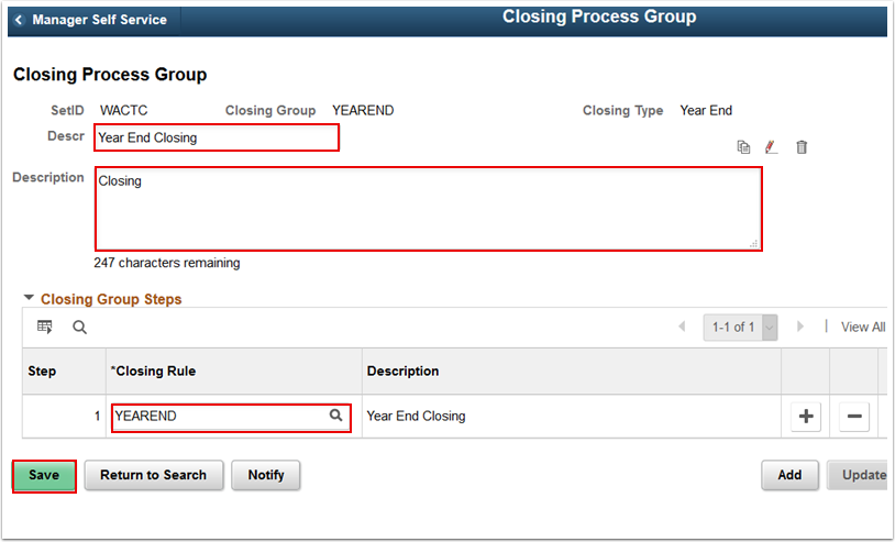 Closing Process Group page