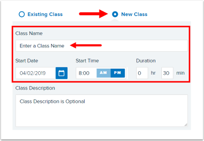 Create a New Class area of Share to a Class screen
