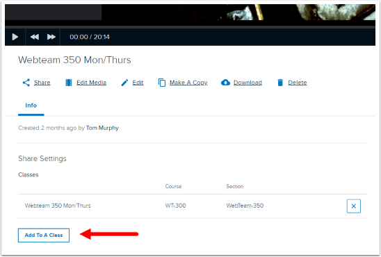 Media details page with Add to a Class button highlighted