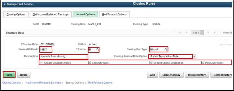 Journal Options tab